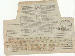 Télégramme Montluçon -> Clermont Ferrand, Griffe CONTROLE K Noire 1941) - Guerra De 1939-45
