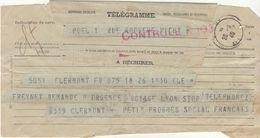 Télégramme Du P.S.F. (voir Détails) Clermont-> Vichy 26/9/1940 - Guerra De 1939-45