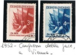 CECOSLOVACCHIA (CZECHOSLOVAKIA) - SG 739.740 - 1952 PEACE CONGRESS, VIENNA (COMPLET SET OF 2) - USED- RIF.CP - Gebraucht