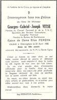 GEORGES GABRIEL JOSEPH VITSE - Epoux De Dame Elise PERSYN - EBBLINGHEM 1940 - Andachtsbilder