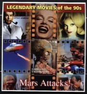 LEGENDARY MOVIES CINEMA OSCAR MOVIES On SOUVENIR STAMP SHEET,cto,used,MARS ATTACKS - Cinema