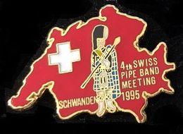4TH SWISS PIPE BAND MEETING SCHWANDEN 1995 - SUISSE - SCHWEIZ - SUIZA - CORNE MUSE - SVIZZERA - DUDELSACK - (JAUNE) - Música