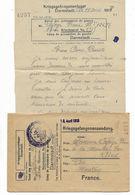 WW1- Courrier Prisonnier Français Camp De DARMSTADT  Allemagne  18 Avril 1918 Lettre + Enveloppe  Voir 2 Scans - Guerre De 1914-18