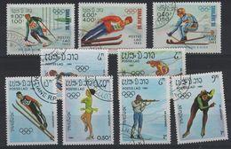 JO84-H7 - LAOS Série De 9 Val. Obl. Jeux Olympiques D'hiver 1984 - Laos