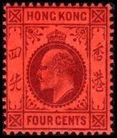 1903. HONG KONG. Edward VII FOUR CENTS. Hinged. (Michel 63) - JF364474 - Hong Kong (...-1997)