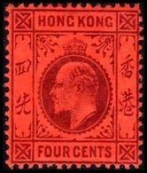 1904-1907. HONG KONG. Edward VII FOUR CENTS. Hinged. (Michel 77) - JF364483 - Hong Kong (...-1997)