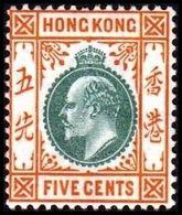 1904-1907. HONG KONG. Edward VII FIVE CENTS. Hinged. (Michel 78) - JF364484 - Hong Kong (...-1997)