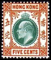 1904-1907. HONG KONG. Edward VII FIVE CENTS. Hinged. (Michel 78) - JF364485 - Hong Kong (...-1997)
