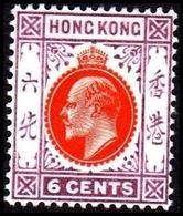 1904-1907. HONG KONG. Edward VII 6 CENTS. Hinged. (Michel 79) - JF364486 - Hong Kong (...-1997)