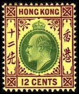 1904-1907. HONG KONG. Edward VII 12 CENTS. Hinged. (Michel 82) - JF364489 - Hong Kong (...-1997)