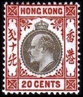 1904-1907. HONG KONG. Edward VII 20 CENTS. Hinged. (Michel 83) - JF364490 - Hong Kong (...-1997)