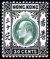 1904-1907. HONG KONG. Edward VII 30 CENTS. Hinged. (Michel 84) - JF364491 - Hong Kong (...-1997)