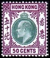 1904-1907. HONG KONG. Edward VII 50 CENTS. Hinged. (Michel 85) - JF364492 - Hong Kong (...-1997)
