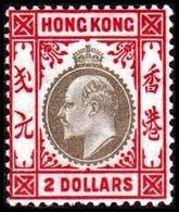 1904-1907. HONG KONG. Edward VII TWO DOLLARS. Hinged. (Michel 85) - JF364494 - Hong Kong (...-1997)