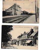 Cher MEHUN SUR YEVRE 2 Cartes Intérieur De La Gare Et Place Du 14 Juillet (côté Sud) - Mehun-sur-Yèvre