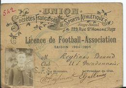 LICENCE DE FOOTBALL- ASSOCIATION - Saison 1904-1905 - Club U.S. MEUDONNAIS - Documents Historiques