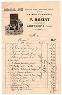 Gers / Facture Illustrée, Publicité CHOCOLAT LOUIT, Epicerie F. BEZIAT à LECTOURE, 1906, Successeur Maison LASSANCE. - Alimentaire