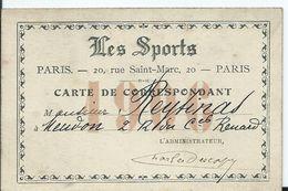CARTE DE CORRESPONDANT  Journal LES SPORTS - Documents Historiques