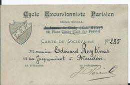 CARTE DE SOCIETAIRE CYCLE EXCURSIONNISTE PARISIEN - Documents Historiques