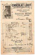Gers / Facture Illustrée, Publicité CHOCOLAT LOUIT, Epicerie Ferdinand BEZIAT, Rue Nationale, LECTOURE, 1913. - Alimentaire