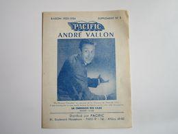 André VALLON - Disques PACIFIC  - Supplément N°3 Saison 1953-1954 - Les Derniers Disques Parus (Dépliant 4 Volets) - Musica & Strumenti