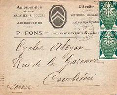 V7S Enveloppe Timbrée Exposition Paris 1925 Courrier Lettre 09 Mirepoix Pons Automobiles Citroen Cachet Alcyon V° - Poststempel (Briefe)