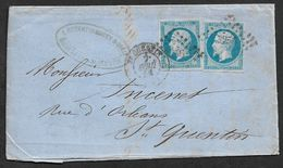 1858 Lac ST QUENTIN Pc 3256 20C Emp. (2) Entete Robert De Massy, ROCOURT Pres De St. Quentin - Poststempel (Briefe)