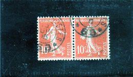 FRANCE   1907  Y.T. N° 138b  Rouge-orange  Oblitéré - 1906-38 Säerin, Untergrund Glatt