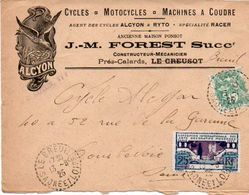 V7S Enveloppe Timbrée Exposition Paris 1925 Courrier Lettre 71 Le Breuil Creusot Cycles Motos Alcyon & Ryto Racer Forest - Poststempel (Briefe)