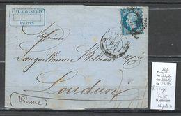 France - Lettre PIQUAGE SUSSE - Yvert 14A - 06/1861 - Pour Loudun - Poststempel (Briefe)