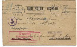 Rare BORDEAUX OEUVRE MUNICIPALE DES PRISONNIERS DE GUERRE -censure Allemande WITTENBERG De 1916  2scans - 1914-18