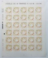 SAINT VALENTIN - COEURS BACCARAT 0.61 - AUTOADHESIF YT N° 939 - 2013 - Feuilles Complètes