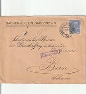 Autriche Lettre Censurée Gablonz Pour La Suisse 1914 - 1850-1918 Impero