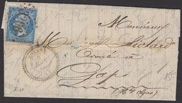 Pli De 1866 Avec 20c Empire Dentelée Bleu Oblt Los GC 3206 + CàDate Type 22 ROSAN (4)  P GAP - Poststempel (Briefe)