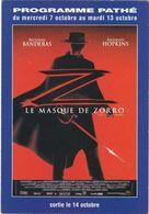 """D2222 CARTE AFFICHE - FILM """"LE MASQUE DE ZORRO"""", DE MARTIN CAMPBELL - 1998 - AVEC ANTONIO BANDERAS, CATHERINE ZETA JONES - Affiches Sur Carte"""