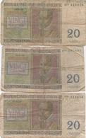 Belgique België : Lot De 3 Billets Mauvais état : 20 Francs 1950-1956 - [ 2] 1831-... : Reino De Bélgica