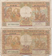 Belgique België : Lot De 2 Billets Mauvais état : 50 Francs 1948-1956 - [ 2] 1831-... : Koninkrijk België