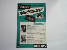 NOUVEAUTES - Disques PHILIPS - Supplément N°21 Octobre 1954 - Les Derniers Disques Parus - Musica & Strumenti