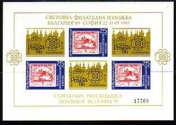 BULGARIA / BULGARIE - 1989 - World Phil.Ex. - Prage 1988 - St/St - M/S Of 3 St.+ Vin Non Dent. - Blocks & Kleinbögen