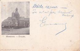 """CPA  BELGIQUE @ MESSINES Mesen - Eglise Cliché Réduit De 1902 """" Mille Excuses , Je N'ai Pas Trouvé Mieux"""" - Mesen"""