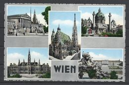 Austria, Wien, Multi View, Coloured Black And White Card, Airport Cancellation, 1956. - Vienne