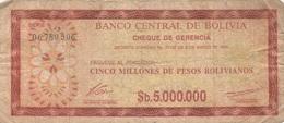 Bolivie : Billet D' Urgence ? : 5 Millions De Pesos Bolivianos 1985 - Bolivia
