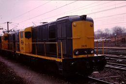 Photo Diapo Diapositive Slide Train Wagon Locomotive NS 2470 à Longueau Le 03/02/92 VOIR ZOOM - Diapositives