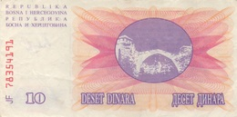 Bosnie-Herzegovine : 10 Dinara 1992 - Bosnië En Herzegovina