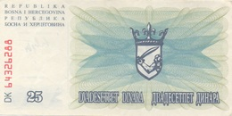 Bosnie-Herzegovine : 25 Dinara 1992 UNC Ou Presque - Bosnië En Herzegovina