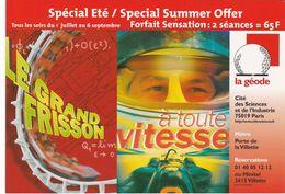 """D2231 CARTE AFFICHE """"LE GRAND FRISSON"""" ET """"A TOUTE VITESSE"""" - CARTE PROGRAMME """"LA GÉODE"""" - PARIS - Affiches Sur Carte"""