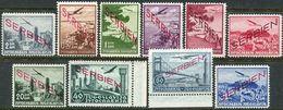Serbia 1941. Michel #16/25 VF/MNH. Transport. Aviation. Airplanes. Bridges (B24) - Serbien
