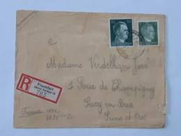 Timbres No 720 - 708 Hitler Sur Enveloppe De Frankfurt - Main Nordost Vers Sucy En Brie ... Lot140 . - Germany