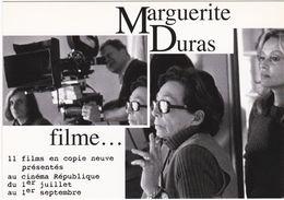 D2233 CARTE PUBLICITAIRE - MARGUERITE DURAS FILME 11 FILMS AU CINÉMA RÉPUBLIQUE - PARIS - Cinema