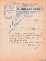 1906 GRENOBLE - Horlogerie, Bijouterie - H. BALLEYDIER - Documents Historiques